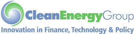 On-image text: Clean Energy Group Innovation in Finance, Technology & Policy. Image: Two quotation mark-like shapes in different hues forming into a swirling ball. The logo text is on the right and below.