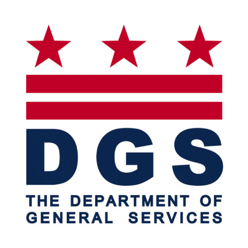 On-image text: DGS The Department of General Services Image: Three evenly spaced out stars with two horizontal lines beneath them. The text is below the image.