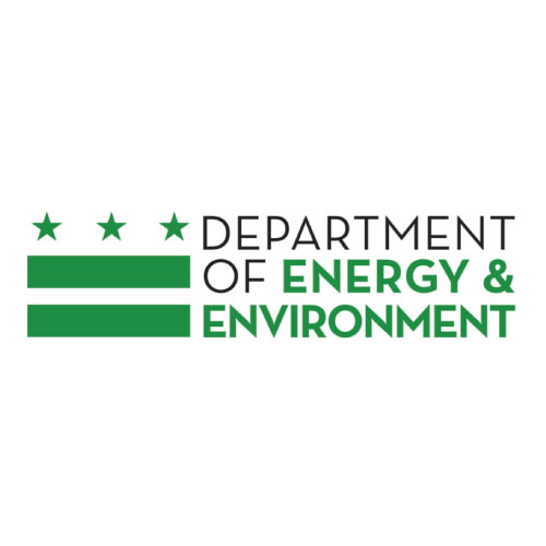 On-image text: Department of Energy & Environment Image: Three stars evenly spaced out atop two thick horizontal lines to the left of the text.