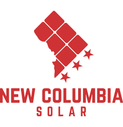 On-image text: New Columbia Solar Image: A silhouette of Washington D.C. segmented into squares. Diagonally beneath the edge are three evenly spaced five-point stars.
