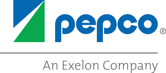 On-image text: Pepco An Exelon Company Image: A rectangle split into three triangles. The text is to the left and below a line that goes across the side and stops just before the right side.