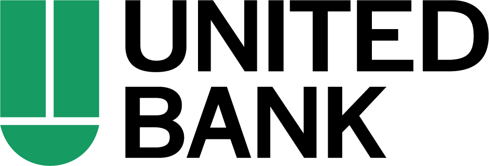 On-image text: United Bank Image: A 'U' shape made up of two vertical rectangles and a half semi circle at the bottom. The text is to the left.