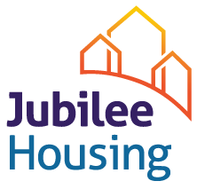 On-image text: Jubilee Housing Image: A curved illustration of three house outlines.