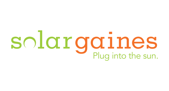 On-image text: Solar Gaines Plug into the sun. Image: No image. The 'o' in 'solar' is an open circle crescent with the empty portion pointing below.