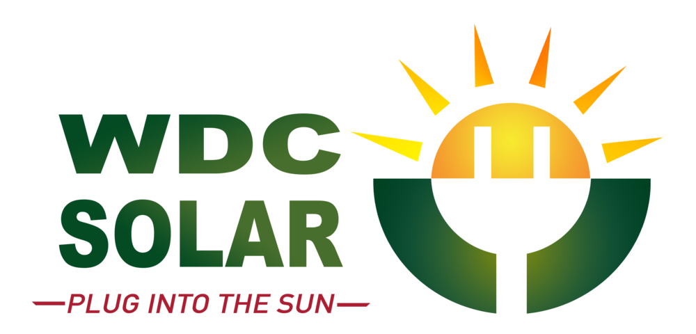 On-image text: WDC Solar Plug Into the Sun Image: A silhouette of a power plug on a circle. The circle is half a sun with triangle rays on top and a solid circle on the bottom half with a gap for the silhouette of the cord.