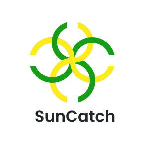 On-image text: SunCatch Image: Four intertwined symbols that look like the letter 'S' when viewed vertically and a 'C' when viewed horizontally from the center.