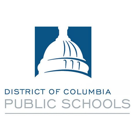 DCPS Logo. On-image text: District of Columbia Public Schools. Image: A silhouette of a conical building is on a solid backdrop within a square. The logo text is below.