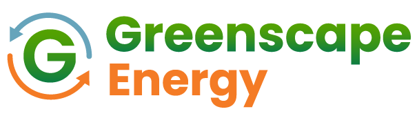 On-image text: Greenscape Energy Image: A capital 'G' is to the left with two arrows in different colors encircling it in alternating directions. To the right is the logo text.
