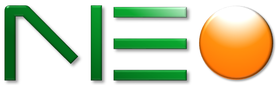 NEO Logo. The logo typeface appears to look angular and the 'o' is designed to look reflective with the color of a sun.